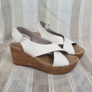 CL by Laundry Wedge Heeled Sandals White Size 10